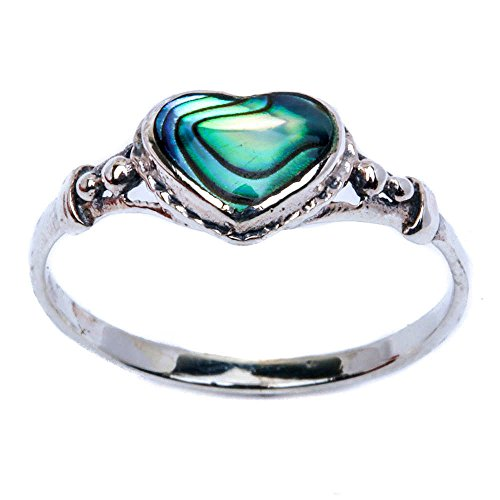 Diamond Shell Ring - Simulated Abalone Shell Heart .925 Sterling Silver Ring Size 7