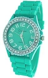 Aqua Ceramic Style Silicone Gel Band Crystal Women's Watch
