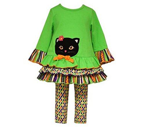 Bonnie Jean Little Girls' Toddler Cat Appliqued Knit Halloween Legging Set, Green, 3T]()
