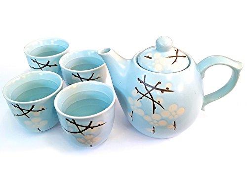 Happy Sales HSTS-LBC11, Japanese Design Light Blue Cherry Blossom Sakura Porcelain Tea Set