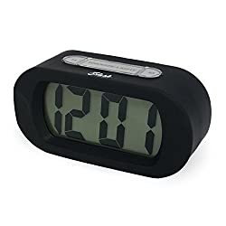 Slash Easy Setting Easy Read Silicone Protective Cover Digital Silent LCD Large Screen Bold Numbers Bedside Desk Alarm Clock with Snooze, Night Light Function, Battery Powered (Black) S10105