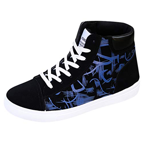 Mosunx Athletic Men's High-top Sneakers, Boys Graffiti Han Edition Flat-Bottomed Lace Up Casual Shoes Teen College Students Fashion Board Shoes (9.5, Blue) ()