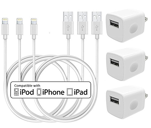 Charger, Certified 5W 1A USB Charger Portable Travel Power Wall Charger Plug Adapter with 3-Pack 3FT/1M [Heavy Duty] Lightning iPhone Charger Cord to USB Cable (White) by PowerBoost