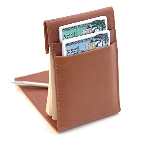 KenzaPad - Premium Leather Wallet + Refillable Notepad - Includes 50 KenzaCards Notecards + 2 Pen Holders + 2 Large Card Pockets, Can Hold Up to 8 Cards (Hazelnut)