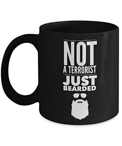 Beard Mug for Men - Not A Terrorist Just Bearded (Black) (Bearded Clam Costume)