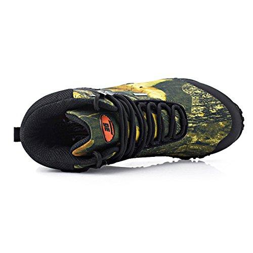 SANANG Hombres Zapatillas de deporte al aire libre Camuflaje Botas de senderismo Zapatos de trekking Amarillo