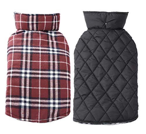 Fesky Dog Jacket Reversible Plaid Dog Coat British Dog Vest Cold Weather Coats Winter Windproof Clothes Warm Waterproof Clothing Snowproof Puppy Jacket Pet Apparel for Small Medium Large Dogs(XS-3XL)