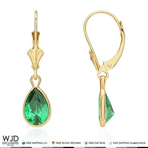 (14k Yellow Gold Teardrop Bezel Birthstone Dangle Leverback Earrings 1