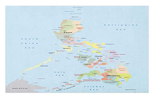 Map Of Sea Floor - Ambesonne Phillipine Doormat, Philippines Administrative Political Map Cities and Seas Cartography Themed, Decorative Polyester Floor Mat with Non-Skid Backing, 30