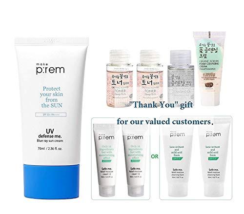MAKEP:REM UV Defense Me Blue Ray Sun Cream - Sunscreen 70ml / 2.36 fl.oz. & Moisture cream mini 20ml, Whamisa Essence Toner 40ml, Cleanser 20ml x2 | SPF 50+ PA++++ by MAKEPREM MAKE P:REM ()