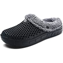 Sintiz Unisex Fur Lined Clogs Slippers Winter Breathable Mesh Indoor Outdoor Walking Garden Shoes Warm Non-Slip House Shoes