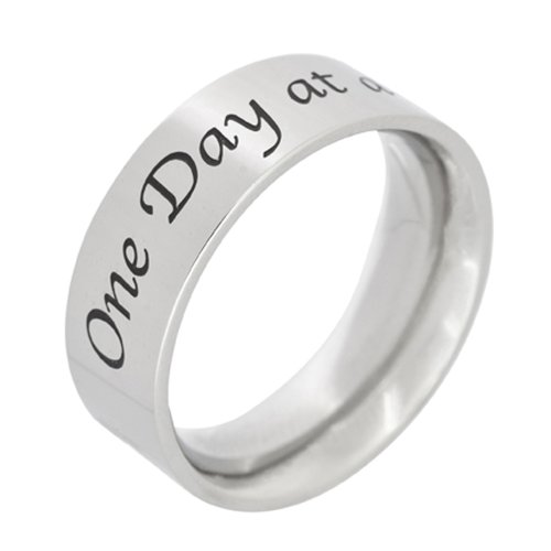 Stainless Steel One Day At A Time Poesy Ring ()