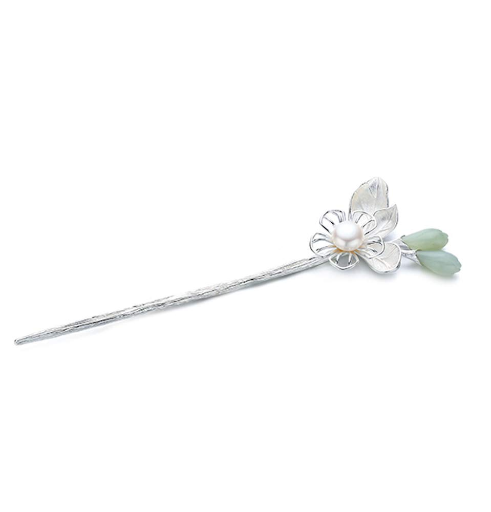 HangErFeng Hair Stick 925 Pure Silver Hairpin Chinese Elements Silver-Inlaid Hetian Magnolia Pearl Hairpin (Silver)