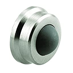Prime-Line Products J 4647 Wall Stop, 1 in. Outside Diameter, Cast Brass, Brushed Chrome w/Rubber Bumper