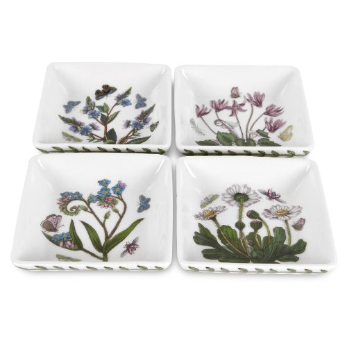 Portmeirion botanic garden 3 inch square mini dishes set for Portmeirion dinnerware set of 4 botanic garden canape plates