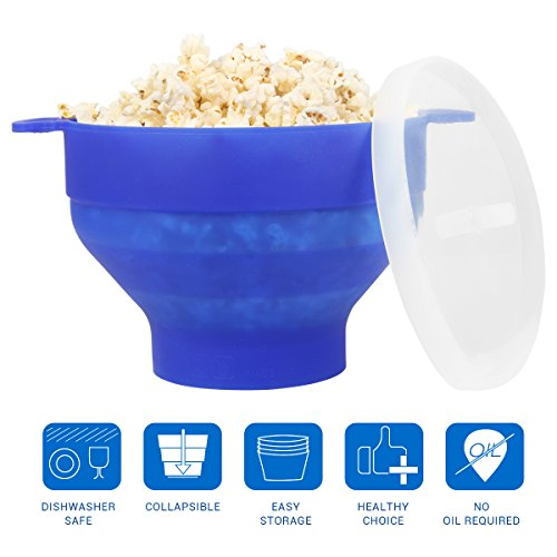 Collapsible Bowl Uvistare Popcorn Microwave Maker Silicone with Handle and Lid (Blue)