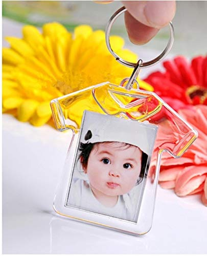 BeesClover 24PCS Baby Shower Favors Kids Birthday Party Decoration Souvenirs Clear Acrylic Mini Photo Frame Keychain DIY ceative Gift Show