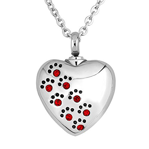 Corykeyes Heart Love Pet Paw Print Urn Necklace Ashes Holder Cremation Keepsakes (Red) ()
