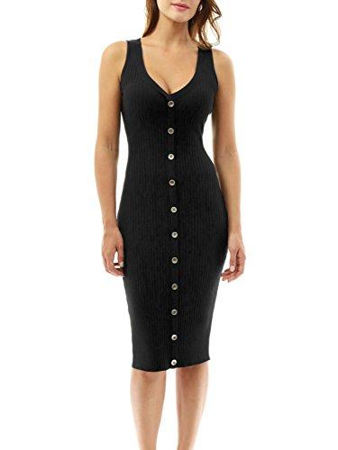 D Jill Women's Casual V Neck Sleeveless Knit Bodycon Tank Midi Dress (Black Knit Basic Dress)
