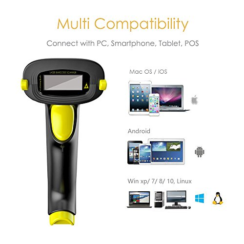 NADAMOO 2-In-1 Bluetooth & 2 4GHz Wireless Barcode Scanner 1D Handheld USB  Cordless Laser Bar Code Reader Work With Ipad Iphone Android Phone Tablet