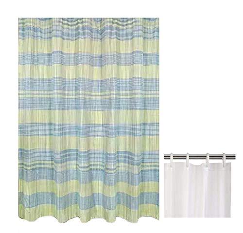 SeasonsEasy Fabric Shower Curtain Sumatra Cape Cod Bundle with Vinyl Liner Cape Cod Shower Curtain