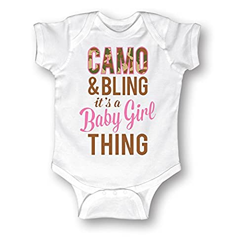 Camo And Bling Baby Girl Thing -INFANT One Piece-NB - Girls In Camo