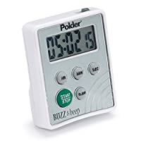 Polder TMR-2125 Digital Buzz and Beep Timer con pantalla LCD, blanco