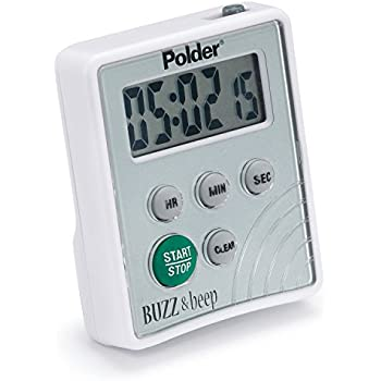 Polder TMR-2125 Digital Buzz and Beep Timer with LCD Display, White