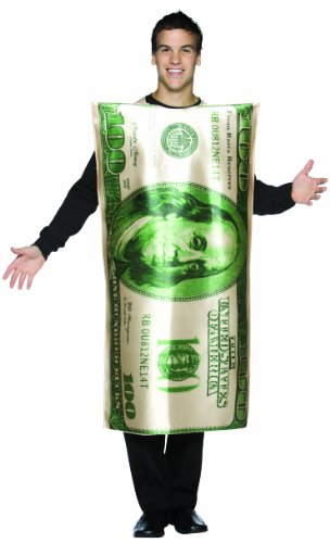 Rasta Imposta Dollar 100 Bill Costume, Green/White, One Size -