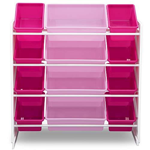 41YDyr2ui4L - Delta Children Kids Toy Storage Organizer with 12 Plastic Bins, White/Pink