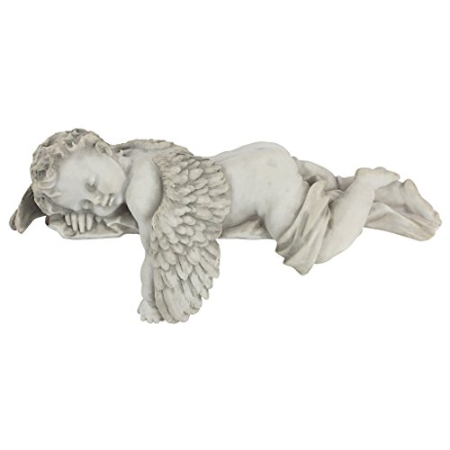 Design Toscano Sleepy Time Baby Angel Napping Shelf Sitter Statue, 12 Inch, Polyresin, Antique Stone