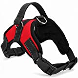 TRADERPLUS Dog Safety Vest Harness, Pet Dog Adjustable Walk Out Sports Travel Vest Collar Hand Strap with Car Seat Belt Lead Clip - No Pull, Easy On/Off (Large, Red)