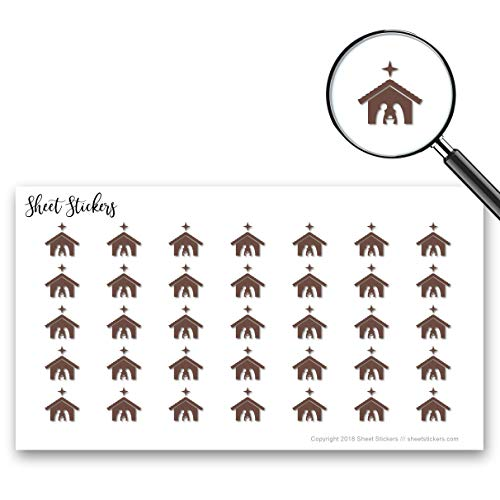 (Nativity Scene Advent Nativity Christmas Bethlehem, Sticker Sheet 88 Bullet Stickers for Journal Planner Scrapbooks Bujo and Crafts, Item 602098)