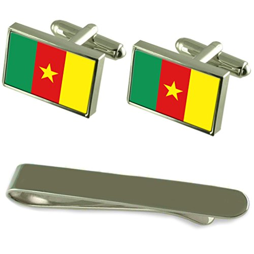 Cameroon Flag Silver Cufflinks Tie Clip Engraved Gift Set by Select Gifts