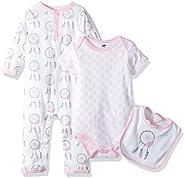 Hudson baby Unisex-Baby 3 Piece Cotton Union Suit, Bodysuit and Bib Set