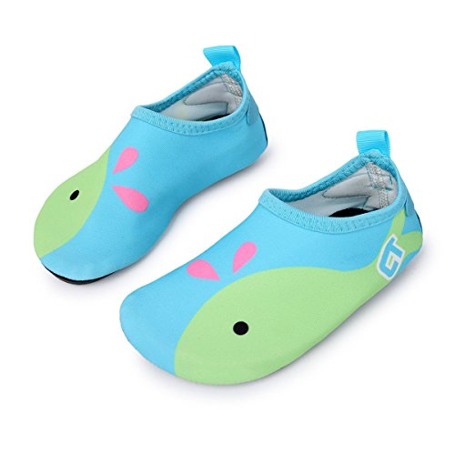 L-RUN Boys Girls Swim Shoes Summer Beach Pool Swim Shoe Aqua Sock Light Blue 2.5-3.5=EU34-35 by L-RUN