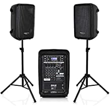 """PA Speaker DJ Mixer Bundle - 300 W Portable Wireless Bluetooth Sound System with USB SD  XLR 1/4"""" RCA Inputs - Dual Speaker, Mixer, Microphone, Stand, Cable - For Home / Outdoor Party - Pyle PPHP28AMX"""