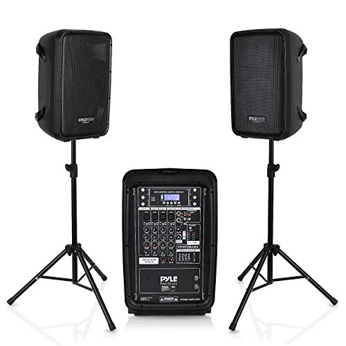 (PA Speaker DJ Mixer Bundle - 300 W Portable Wireless Bluetooth Sound System with USB SD  XLR 1/4