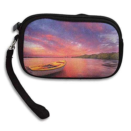 Sunset Clutch Enchanted Coast with a Rowboat under Magical Hazy Sky Peaceful Nature Image W 5.9