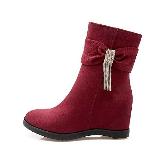 Women's Low Top Zipper Dull Polish High Heels Round Closed Toe Boots