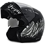 Vega Boolean BLN-ESC-KS-M Escape Flip-up Graphic Helmet with Double Visor (Black and Silver, M)