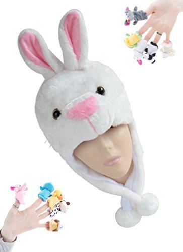 [Pulama Winter Animal Beanie Hats, Short Cartoon Caps with 10 Finger Puppets (White Rabbit)] (Monkey Felt Hat)