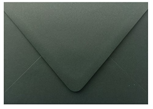 Shipped Free Dark Forest Green Contour Euro Flap 100 Boxed A7-70lb Envelopes (5-1/4 x 7-1/4) for 5 x 7 Invitations Announcements Weddings Showers Communion Confirmation Cards by The Envelope Gallery -