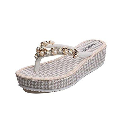 Transer 2016 1Pair Las mujeres del verano de la manera zapatos planos sandalias de los fracasos de tirón de los holgazanes Bohemia Blanco