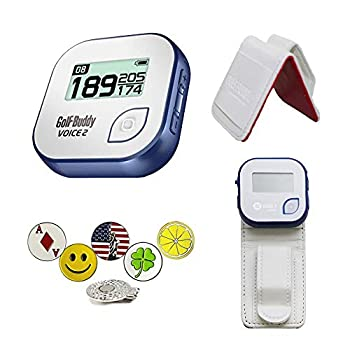 Image of GolfBuddy Voice 2 Golf GPS/Rangefinder Bundle with Belt Clip, 5 Ball Markers and 1 Hat Magnetic Clip Golf Course GPS Units