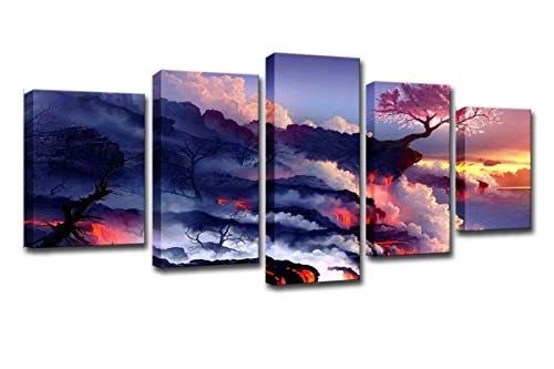 WINSEN Wall Art Canvas Frame Painting 5 Piece Darkness Into Light Poster Home Decor Print Blossoms Cherry Tree in Lava Volcano Pictures