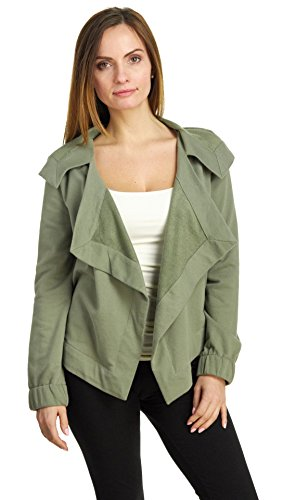(Cable & Gauge Women's Long Sleeve Hooded Drape Collar Cardigan Jacket, Pale Olive, Small)