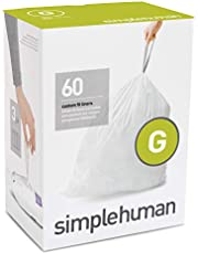 simplehuman Code G Custom Fit Liners, Drawstring Trash Bags, 30-35 L / 8-9 gallon, 60 Count