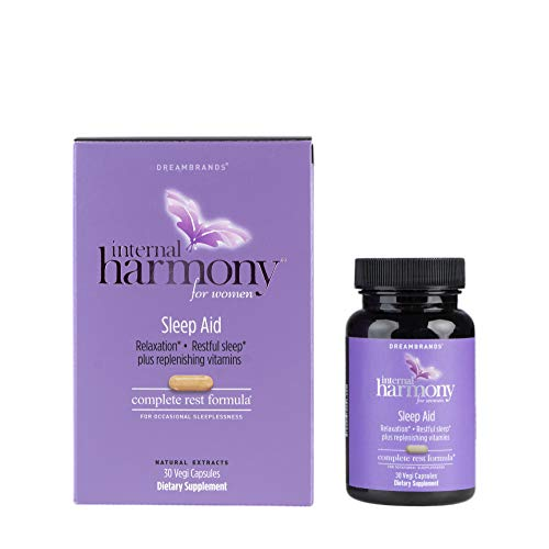 Internal Harmony Beauty Sleep Aid Supplement for Women with Vitamin D3, Melatonin, 5-HTP, Chamomile, Vitamin B12, Magnesium, Black Cohosh and Natural Herbal Extracts - Reduce Stress and Sleep Better
