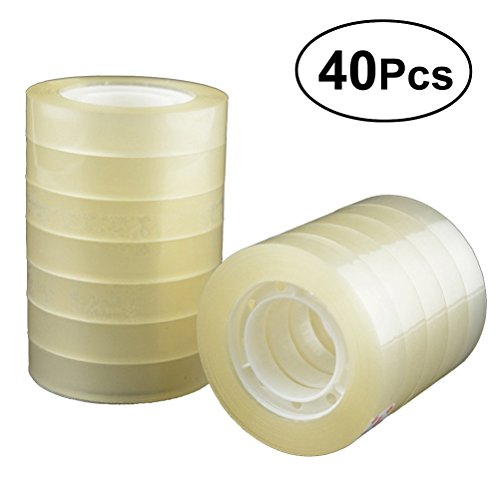 TOYMYTOY 40 Rolls Transparent Tape Clear Packing Tape for Office Home Use School Stationery,7/10 inch by TOYMYTOY